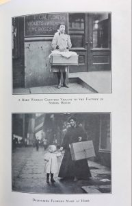 A home worker carrying violets to the factory in school hours / Delivering flowers made at home