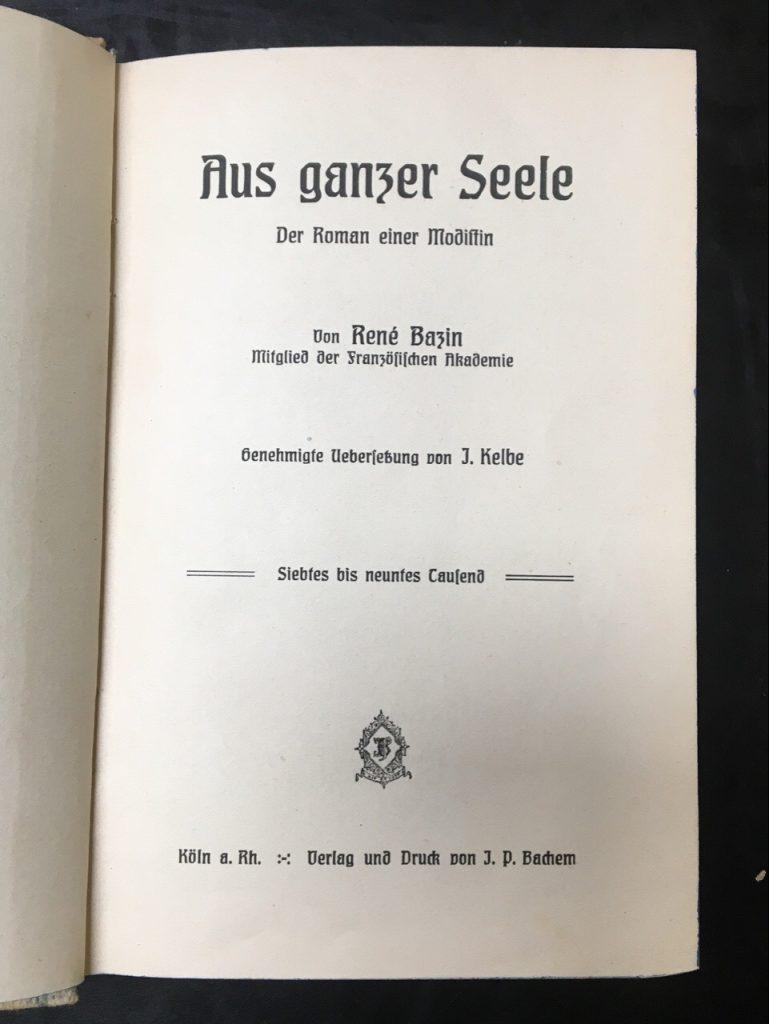 """Titelseite des Werkes """"Aus ganzer Seele. Der Roman einer Modistin"""""""