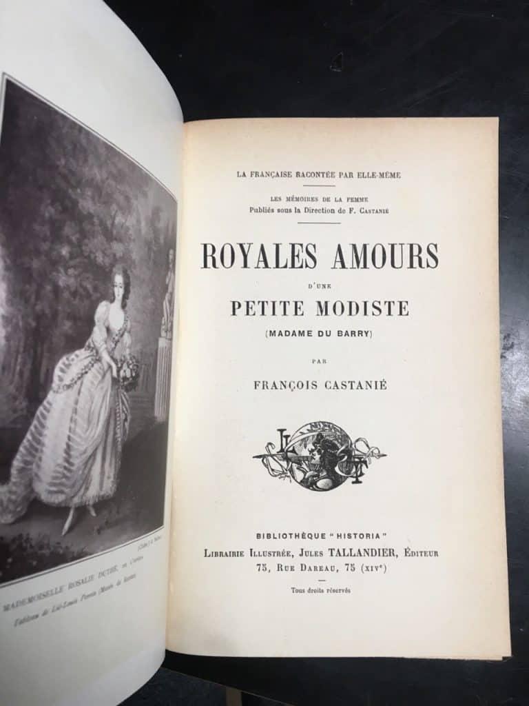 """Titelblatt """"Royales Amours d`une petite Modiste"""""""